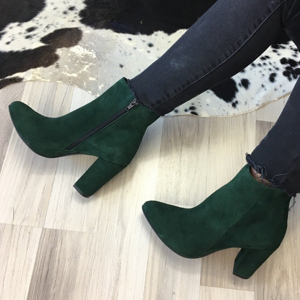 Real leather ladies ankle boots in green