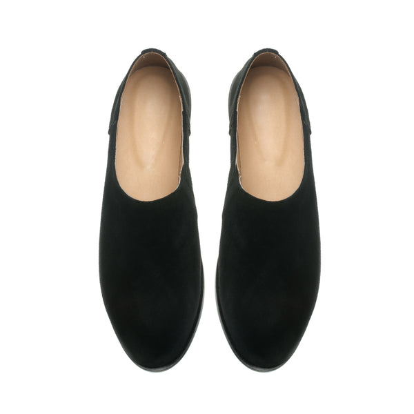 Black real leather ladies shoes