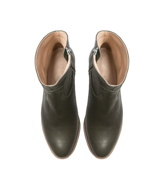 Olive green ankle boots handmade from quality real leather