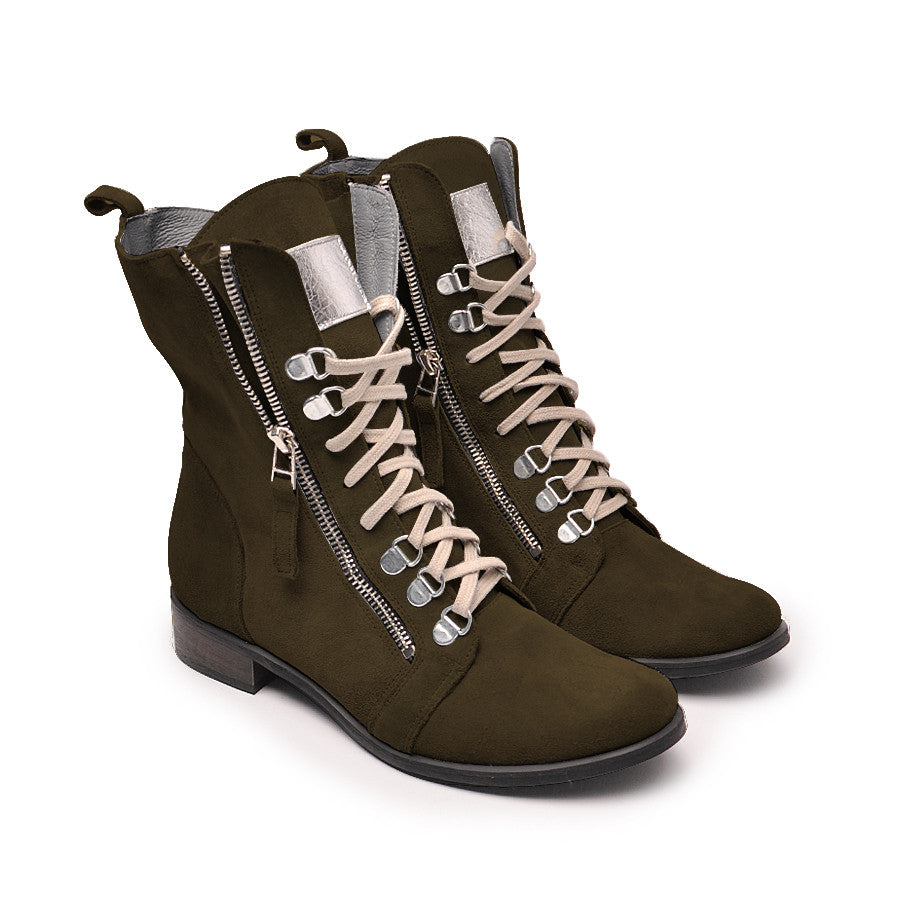 Olive green ankle boots made from real leather