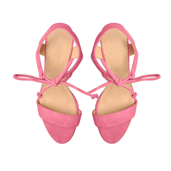 Sandals handmade from pink real leather