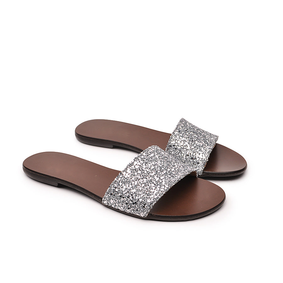 Real leather ladies flip flops sparkling silver