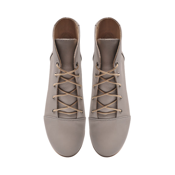 Real leather ladies ankle boots in grey