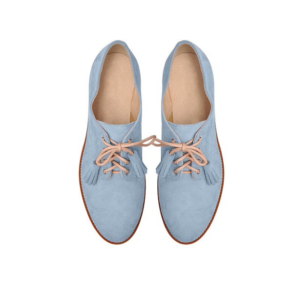Sky blue flat ladies shoes handmade from quality suede leather