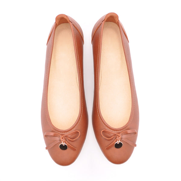 brown real leather ladies pumps