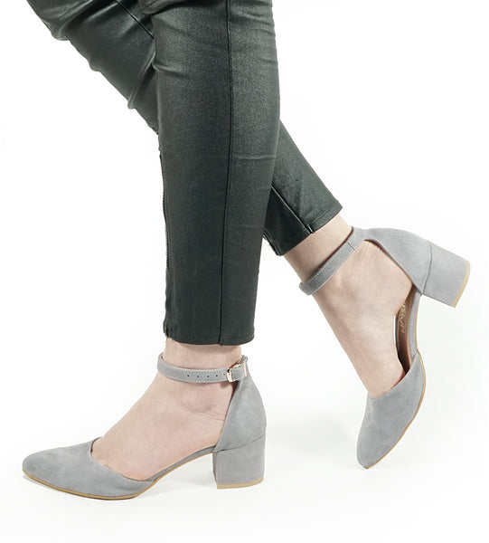 high heel sandals in grey colour handmade from natural suded leather