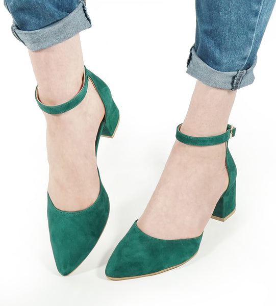high heel sandals in green colour handmade from natural suded leather