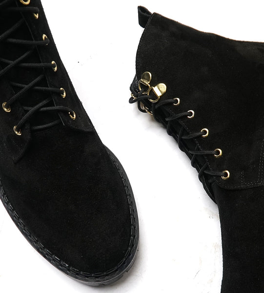 Real leather ladies high top boots in black