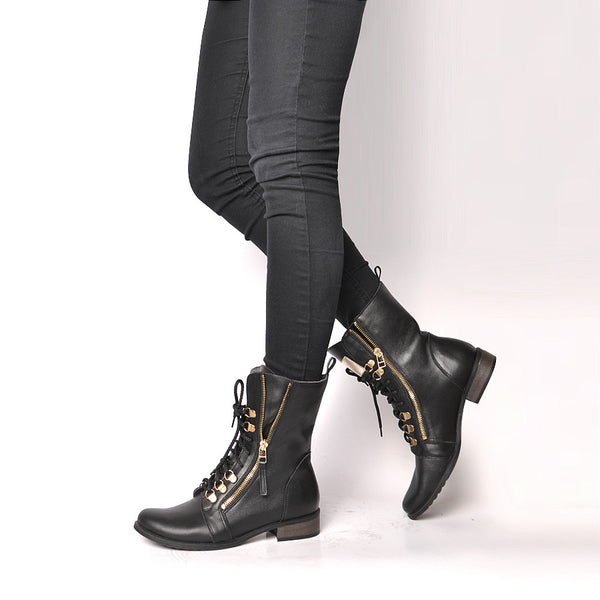 Black real leather ladies ankle boots