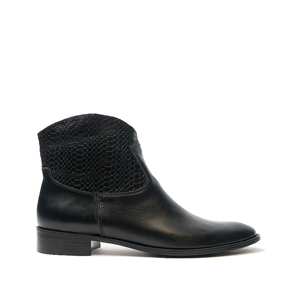 Black real leather ankle boots