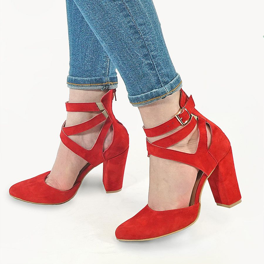 Red high heels handmade from real leather