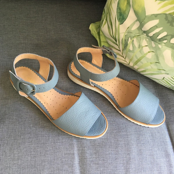 blue sandals handmade from best quality leather