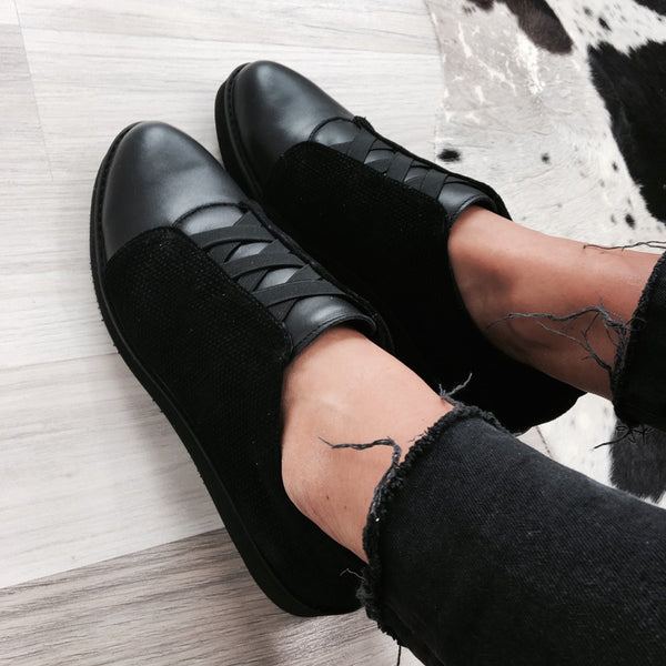 flat shoes made from real leather