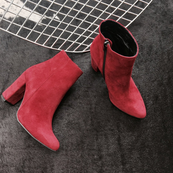 Maroon real leather ankle boots