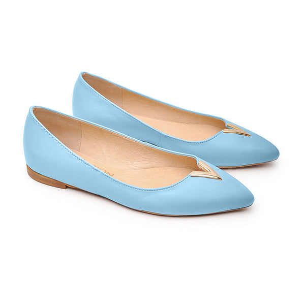 Handmade real leather blue pumps