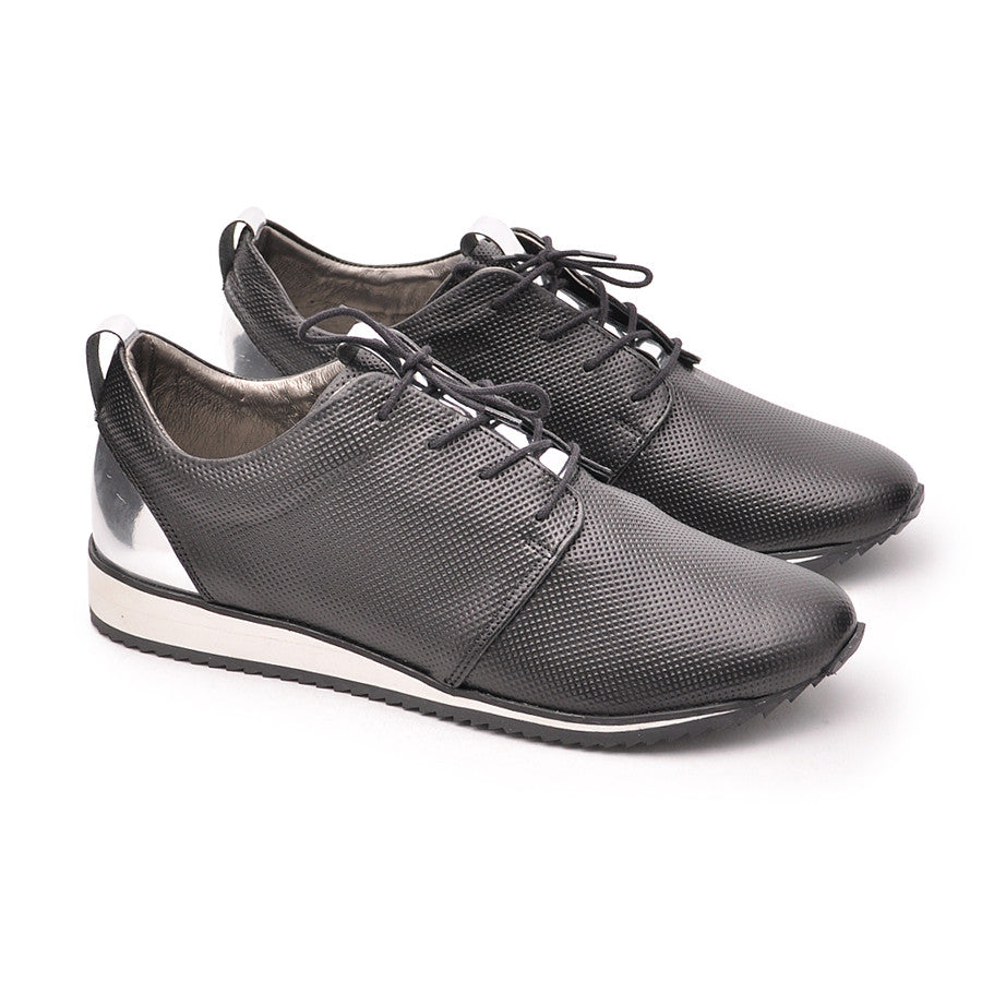 black ladies trainers handmade from the best quality real leather