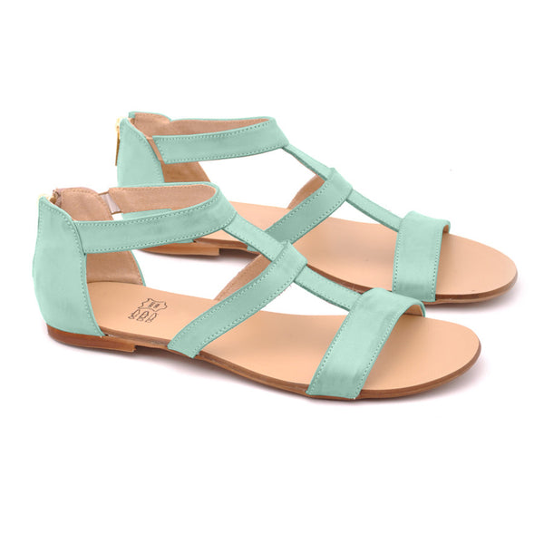 mint green sandals in gladiator style handmade from the best quality leather