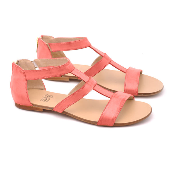 coral sandals in gladiator style handmade from the best quality leather