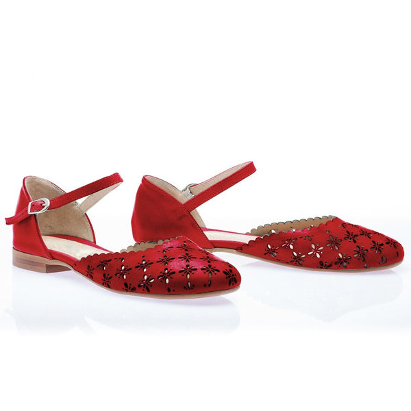 real leather red sandals