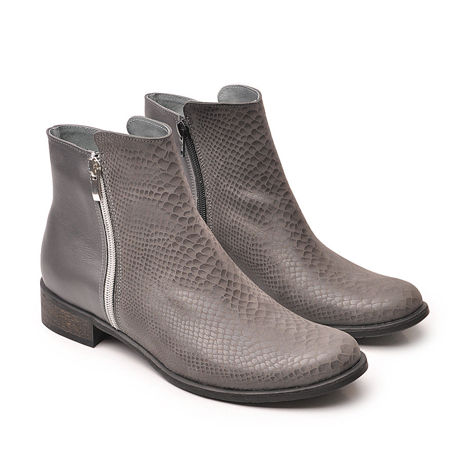 Grey real leather ankle boots with snake skin effects