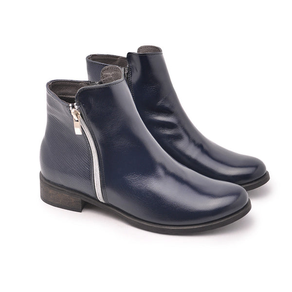 Navy blue real leather ankle boots