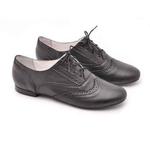 oxford shoes handmade from black real leather