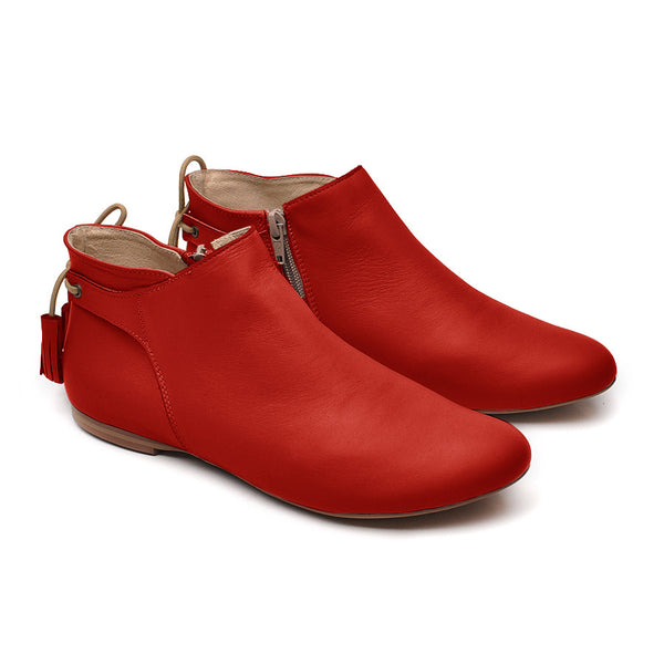 red ankle boots in lovely stylish