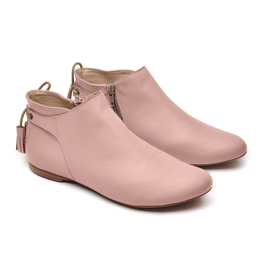 pink real leather ladies ankle boots