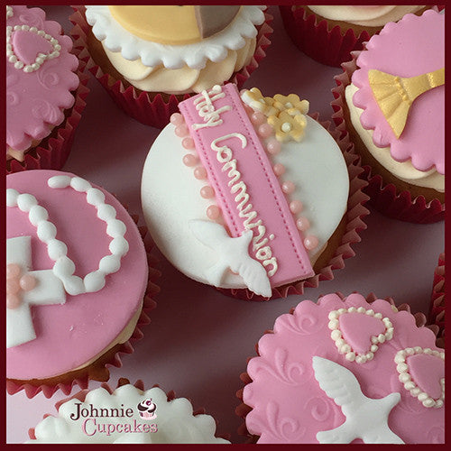 Communion and Confirmation cupcakes pink. - Johnnie Cupcakes