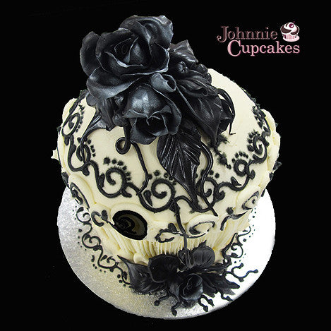 Giant Cupcake Black Rose - Johnnie Cupcakes