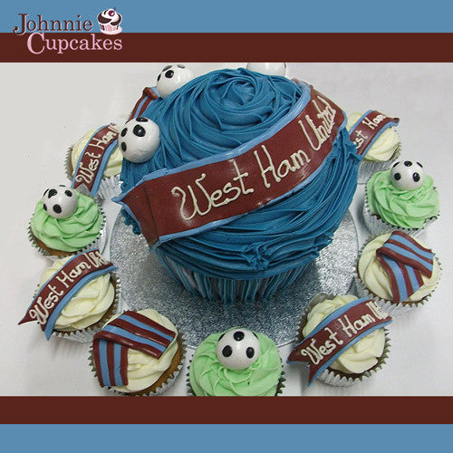 Giant Cupcake West Ham United - Johnnie Cupcakes