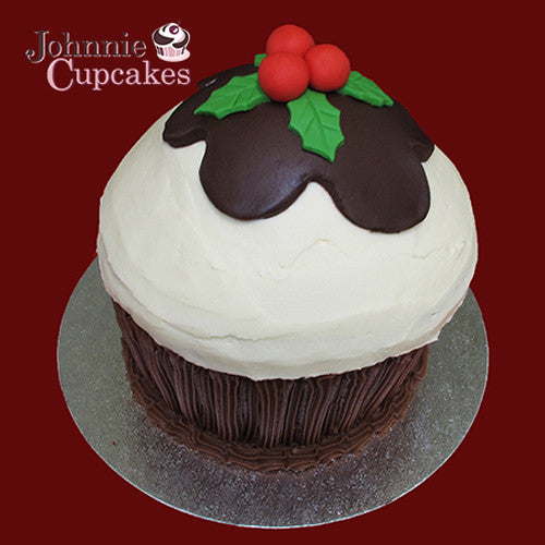 Giant Cupcake Christmas Pudding - Johnnie Cupcakes