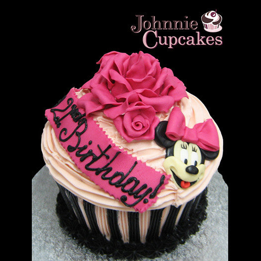 Giant Cupcake 21st Minnie Mouse - Johnnie Cupcakes