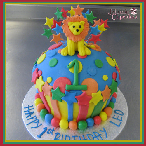 Superb Leo The Lion Cake Johnnie Cupcakes Funny Birthday Cards Online Overcheapnameinfo