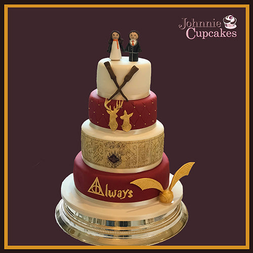 Gold Leaf Harry Potter Wedding Cake - Johnnie Cupcakes