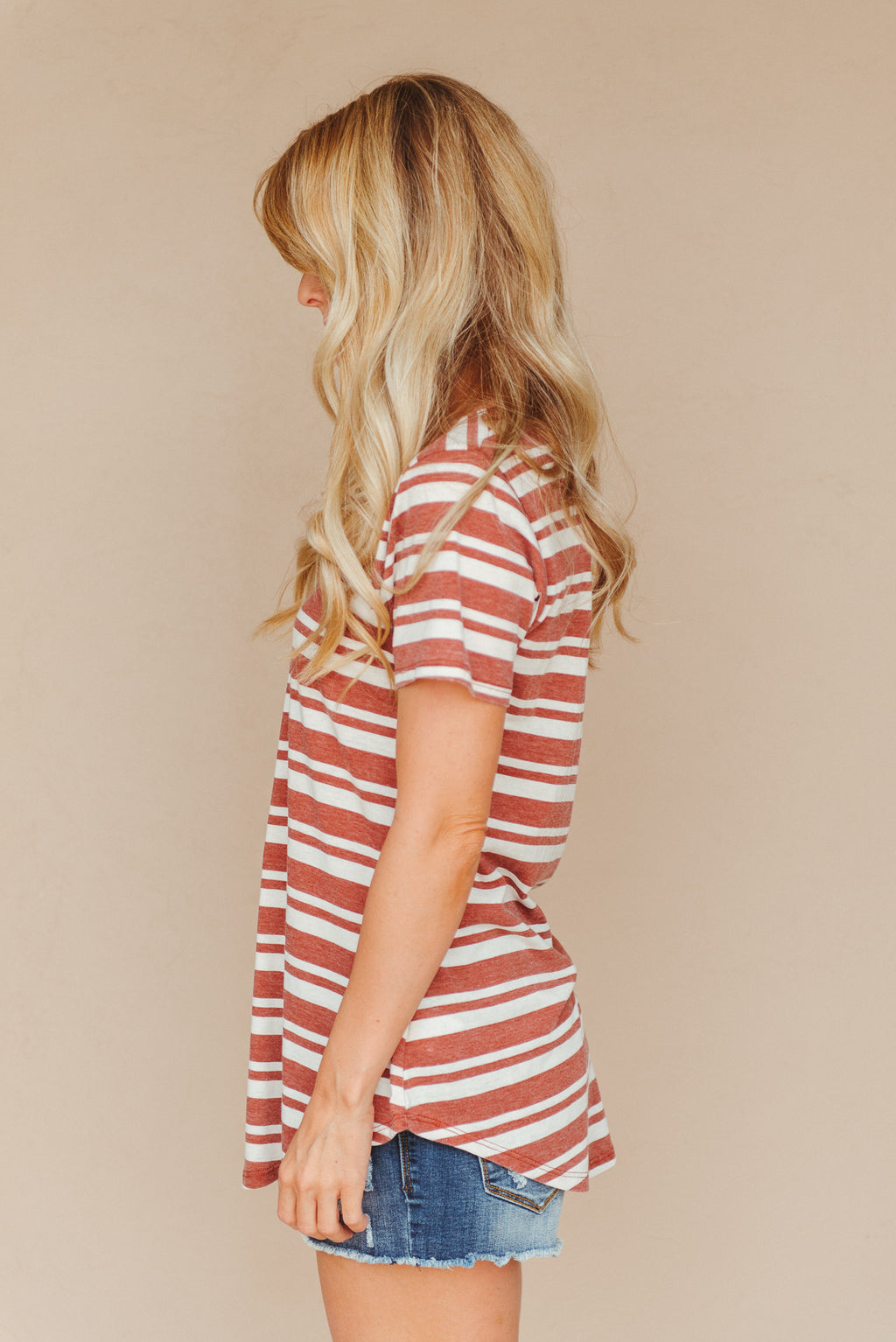 Z Supply The Florence Striped Tee ~ Clay - J. Lilly's Boutique