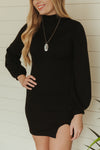 Sparks Fly Sweater Dress~Black