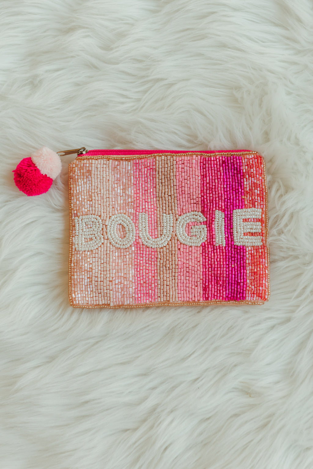 Bougie Pink Beaded Coin Pouch