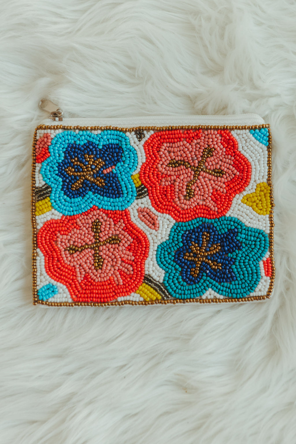 Floral Beaded Coin Pouch