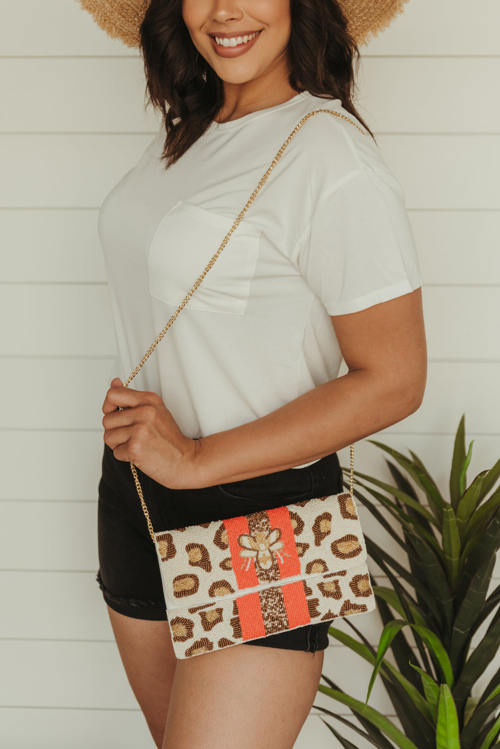Cream Leopard Beaded Clutch with Bee and Orange Stripe
