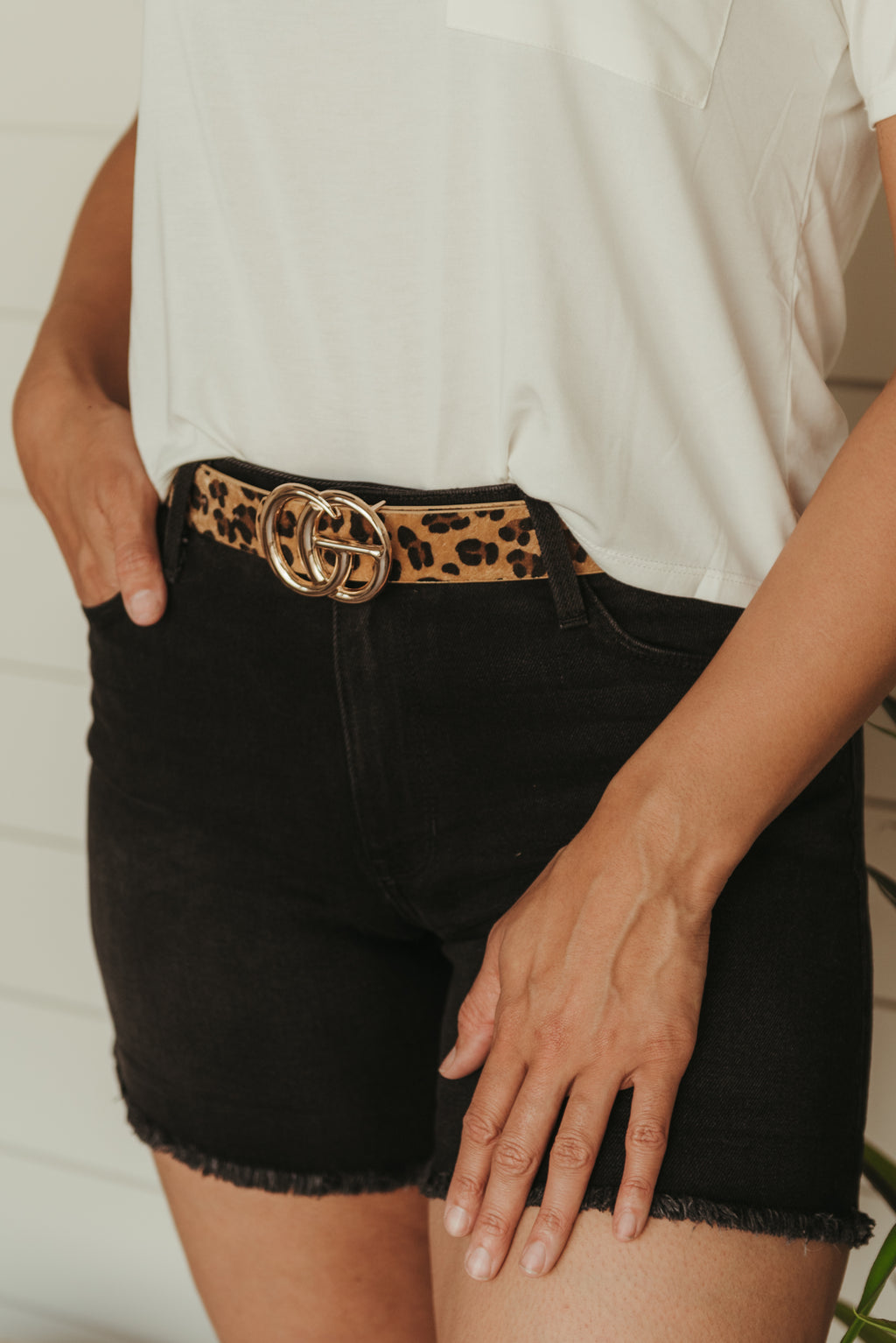 Double Ring Leopard Print Belt