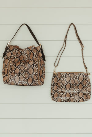 Bag in a Bag Brown Python Purse