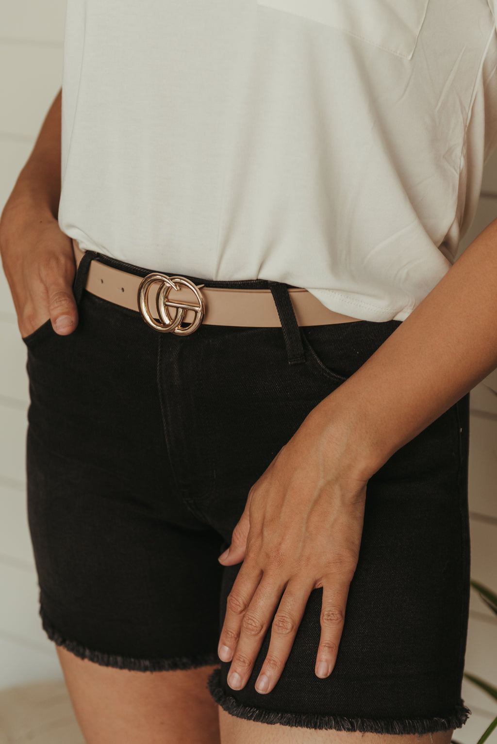 Double Ring Belt Taupe