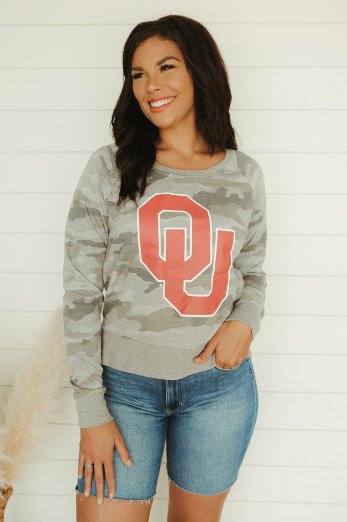OKC Retro Script Terry Sweater - J. Lilly's Boutique