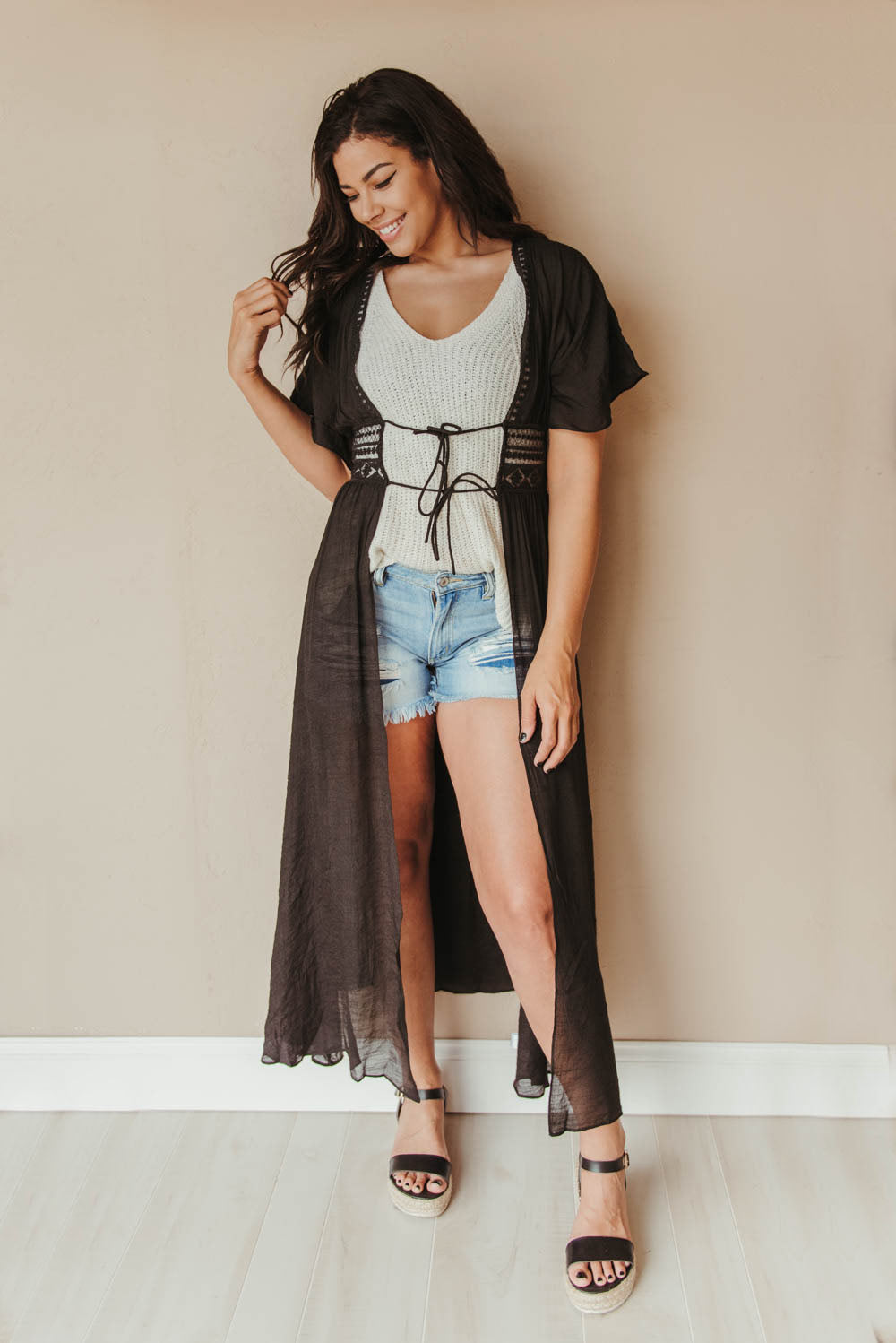 Back to Black Crochet Duster ~ Black - J. Lilly's Boutique