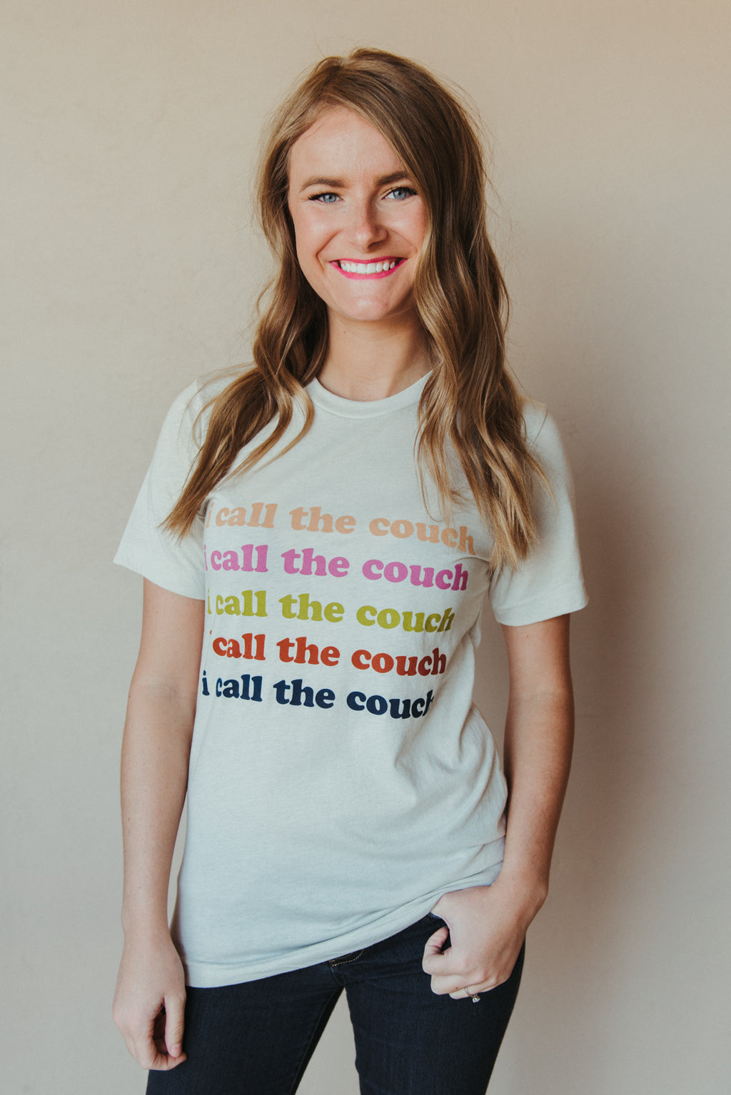 I Call The Couch Tee ~ Multi Colored - J. Lilly's Boutique