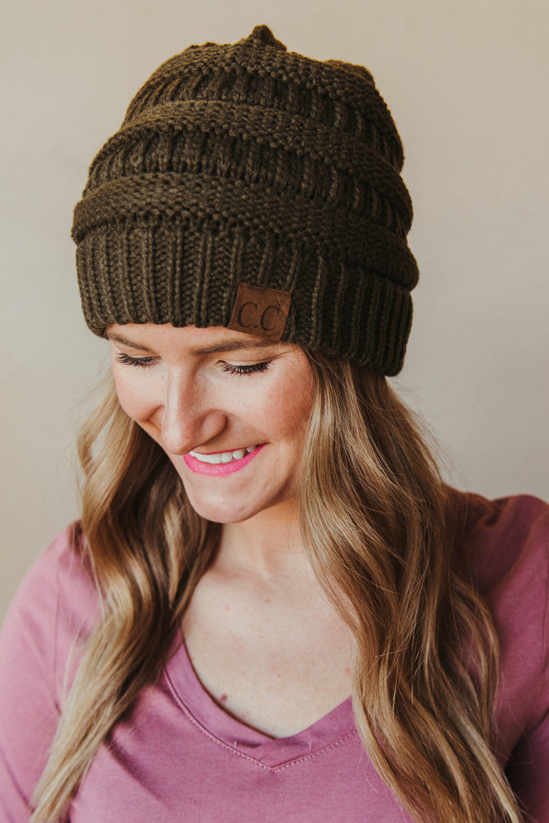 C.C Knitted Beanie ~ Olive - J. Lilly's Boutique