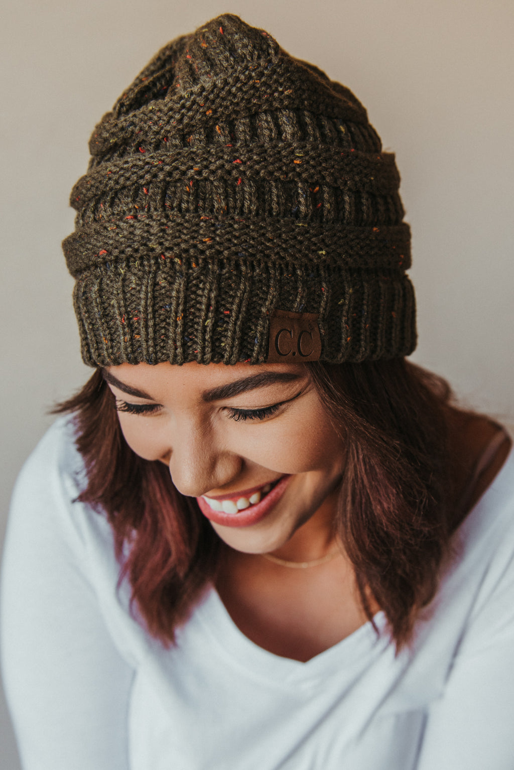 C.C Confetti Beanie ~ Olive - J. Lilly's Boutique