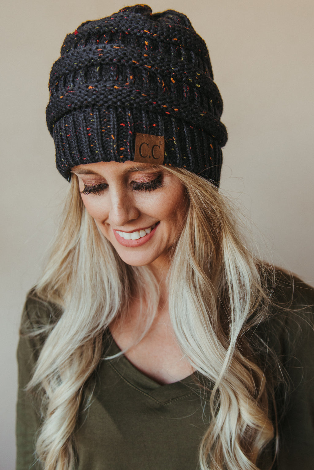 C.C Confetti Beanie ~ Navy - J. Lilly's Boutique