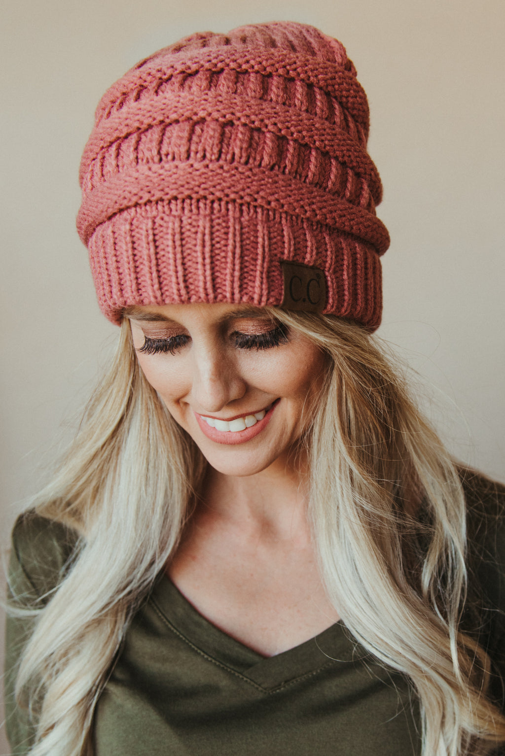 C.C Knitted Beanie ~ Mauve - J. Lilly's Boutique